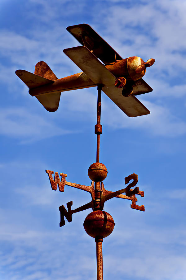 Biplane Weather Vane Photograph - Biplane Weather Vane by Garry Gay