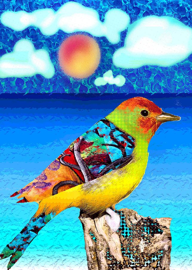 Watercolor Digital Ocean Sun Bird Beach Water Altered Painting - Birds Eye View by Robin Mead
