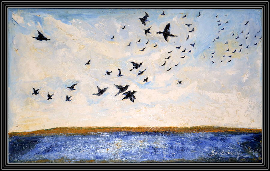 Sky Paintings On Canvas Space Abstraction Paintings On Canvas Indian Deity Paintings  Painting - Birds In Flight At Pushkar by Anand Swaroop Manchiraju