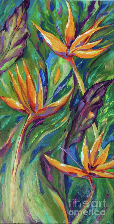 Birds Of Paradise Painting By Linda Olsen