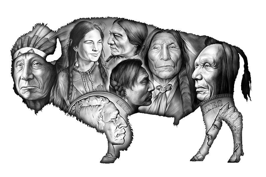 Bison Indian Montage Digital Art