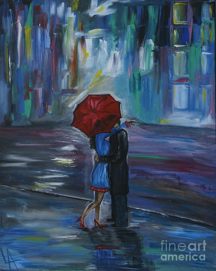 Couple Painting - Bisous by Leslie Allen