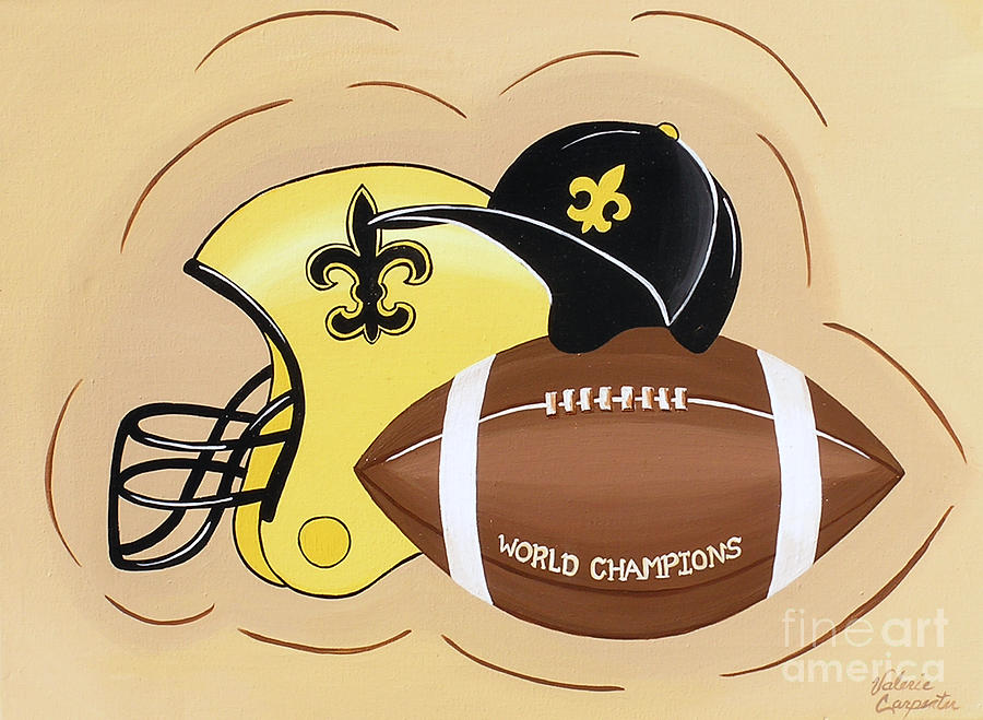 Football Painting - Black And Gold Champs by Valerie Carpenter
