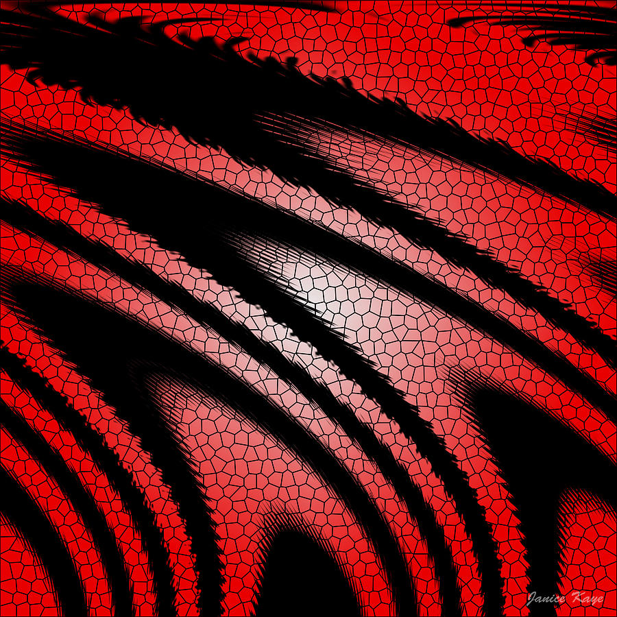 black and red glass texture abstract design digital art by janice kaye. Black Bedroom Furniture Sets. Home Design Ideas