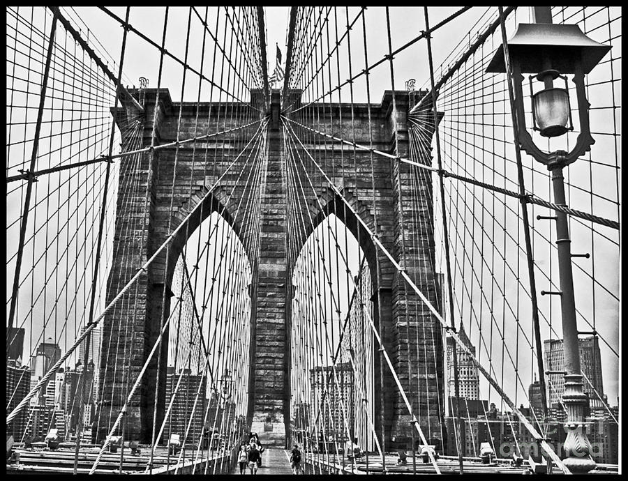 Black And White Brooklyn Bridge Photograph by Allan Einhorn