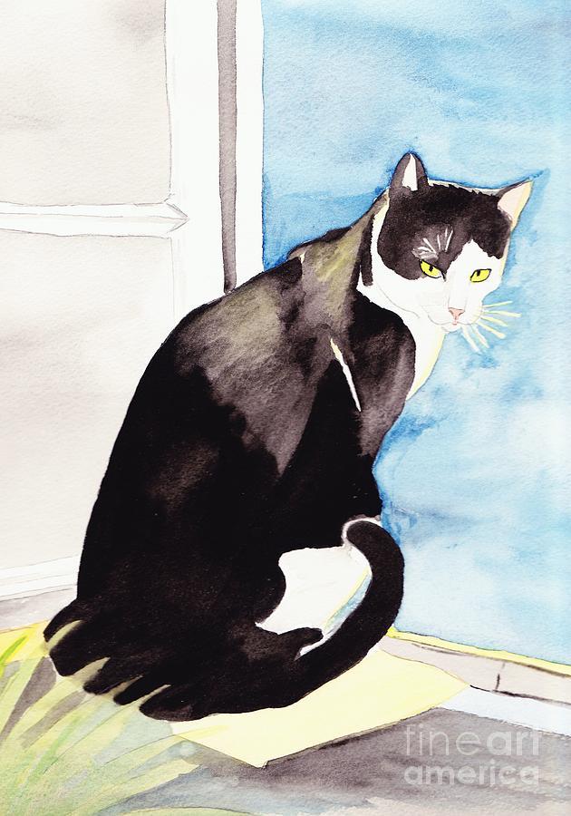 Cat Painting - Black And White Cat by Michaela Bautz