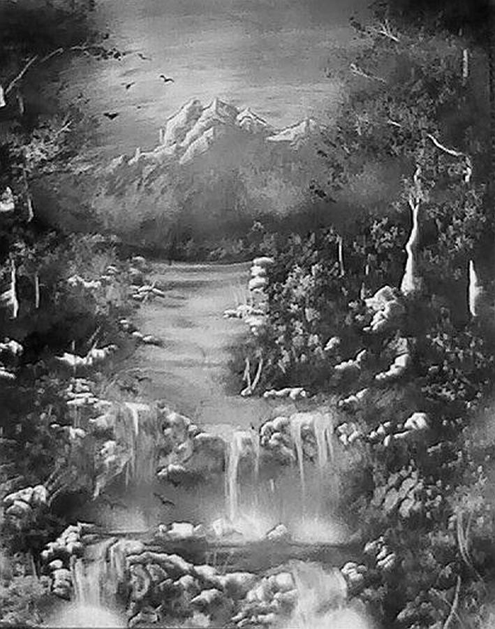 Black And White Nature Painting by My Imagination Gallery