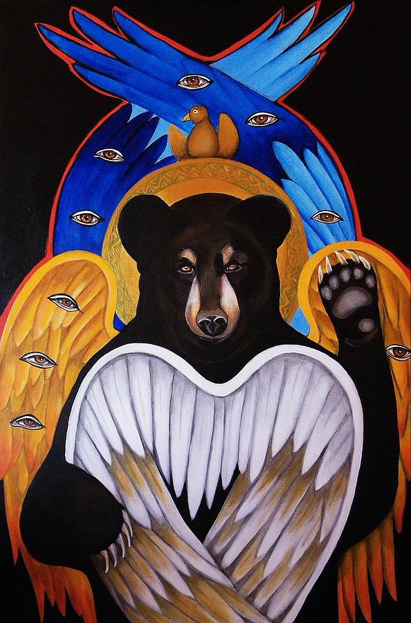 Animals Painting - Black Bear Seraphim by Christina Miller