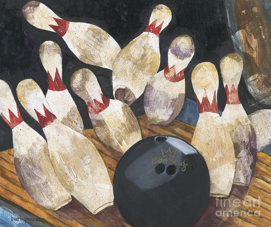 Bowling Painting - Black Beauty by Barb Pearson