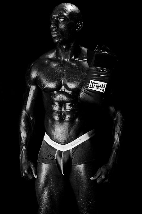 Boxer Photograph - Black Boxer In Black And White 02 by Val Black Russian Tourchin