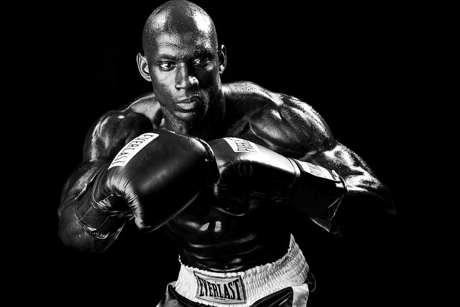 Boxer Photograph - Black Boxer In Black And White 07 by Val Black Russian Tourchin
