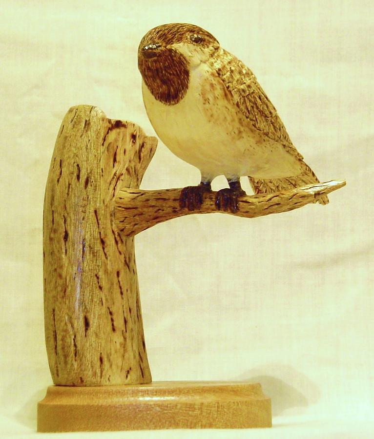 Woodcarving Sculpture - Black-capped Chickadee by Russell Ellingsworth