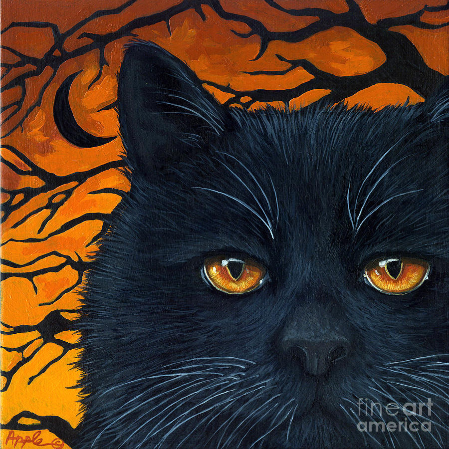Black Cat And Moon Painting