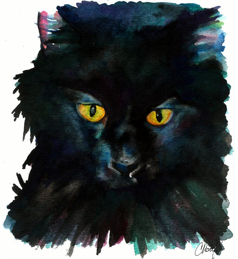 Cat Painting - Black Cat by Christy  Freeman