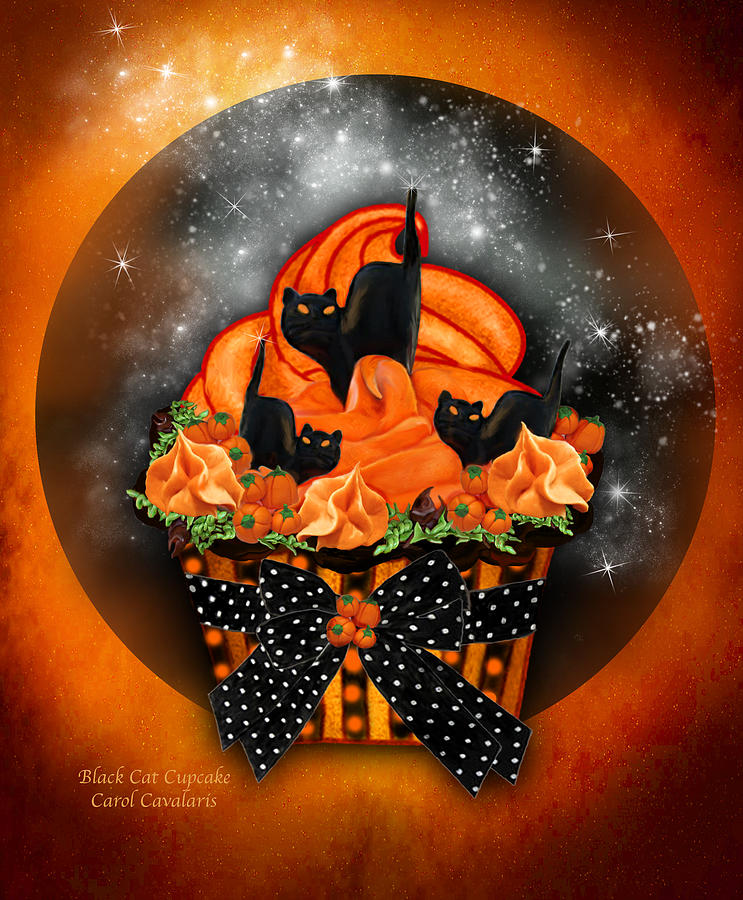 Halloween Art Mixed Media - Black Cat Cupcake by Carol Cavalaris