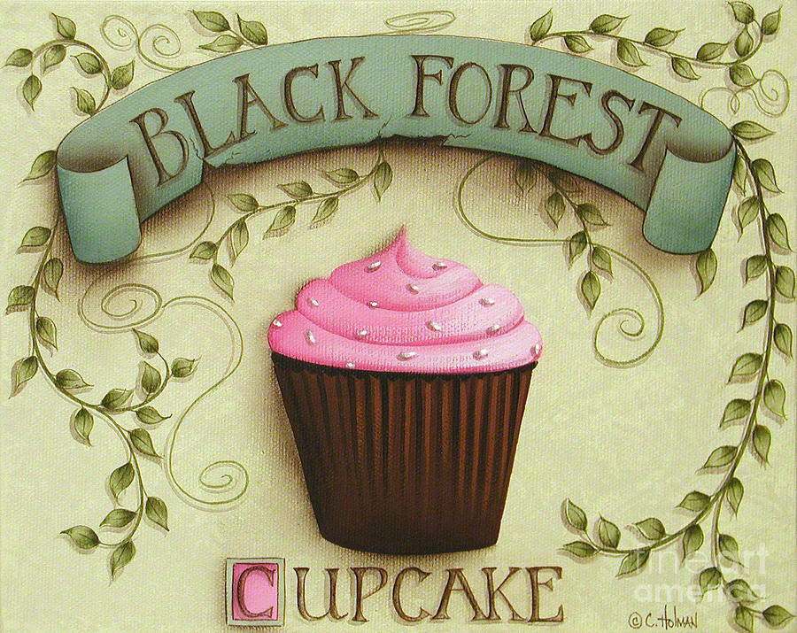 Art Painting - Black Forest Cupcake by Catherine Holman