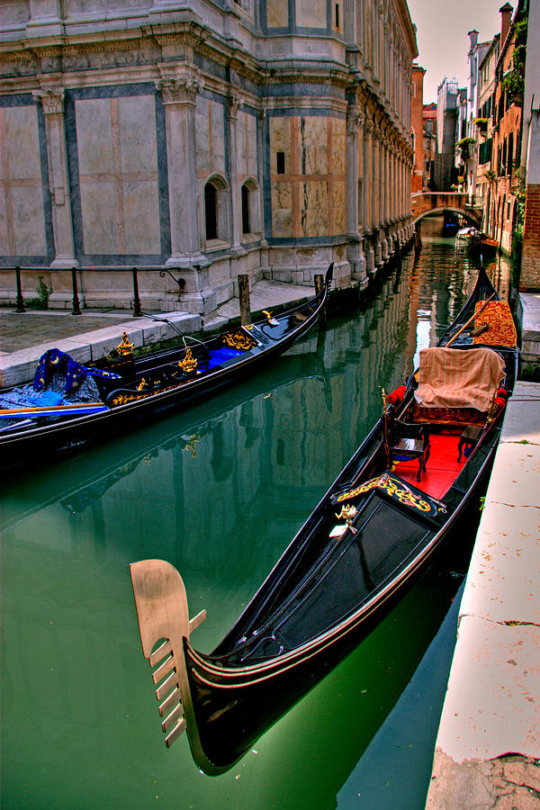 Italy Photograph - Black Gondola by Peter Tellone