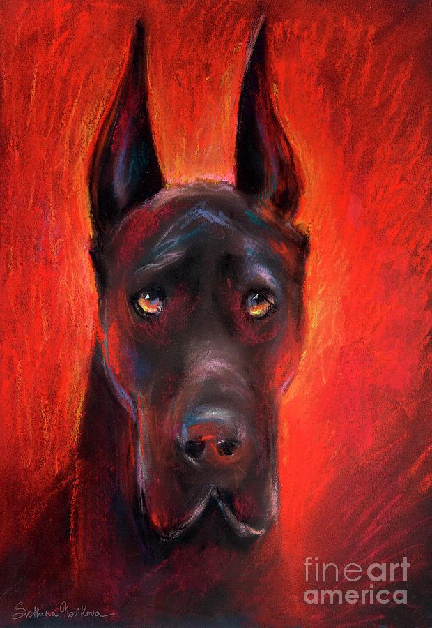 Black Great Dane Portrait Painting - Black Great Dane Dog Painting by Svetlana Novikova