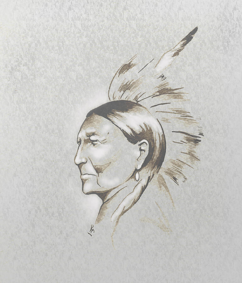 Native American Art Mixed Media - Black Man by Robert Martinez