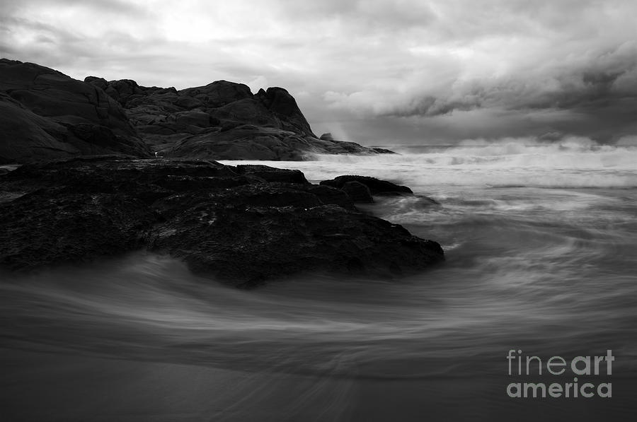 Beach Photograph - Black Rock  Swirl by Mike  Dawson