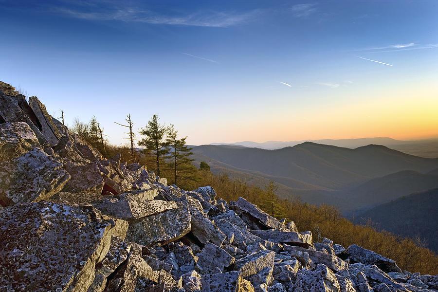Sunset Photograph - Black Rocks Summit In Shenandoah National Park Virginia At Sunset by Brendan Reals