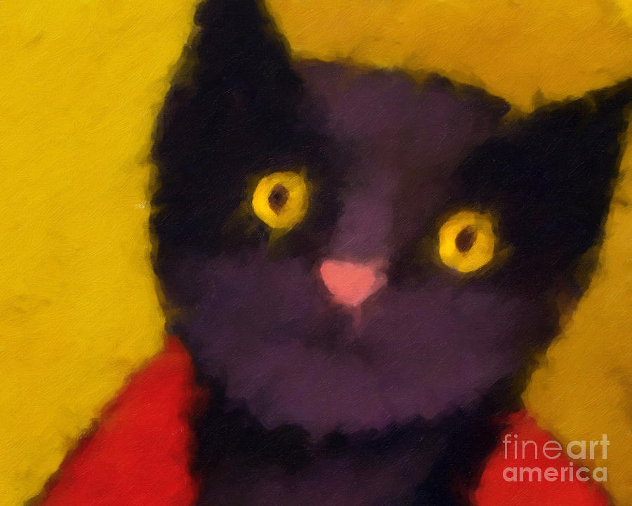 Cats Painting - Blacky by Lutz Baar