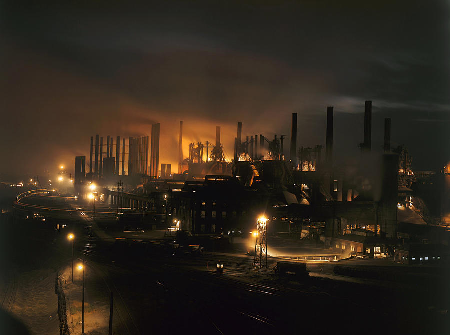 Outdoors Photograph - Blast Furnaces Of A Steel Mill Light by J Baylor Roberts