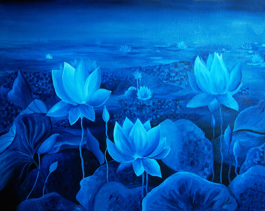 Aquatic Asian Background Beautiful Beauty Blue Botany Colours Environment Exotic Float Floating Floral Flower Flowers Garden Green India Lake Leaves Lily Lotus Meditation Nature Outdoor Park Petals Pink Plant Pond Postcard Single Tropical  Water Yoga Peace Petal Plant Religion Romantic Stamen Summer Vivid Water White Zen Exotic Floating Painting - Blessing by Ramneek Narang