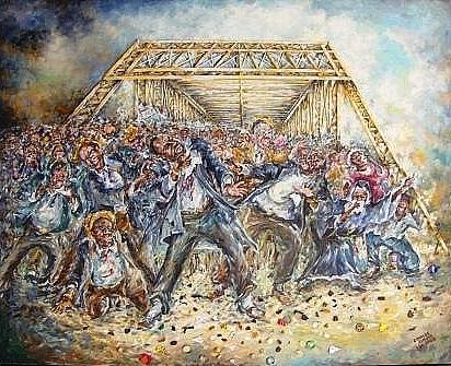 Katrina Painting - Block The Bridge by Charles Simms