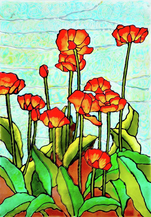 Poppy Field Painting - Blooming Flowers by Farah Faizal