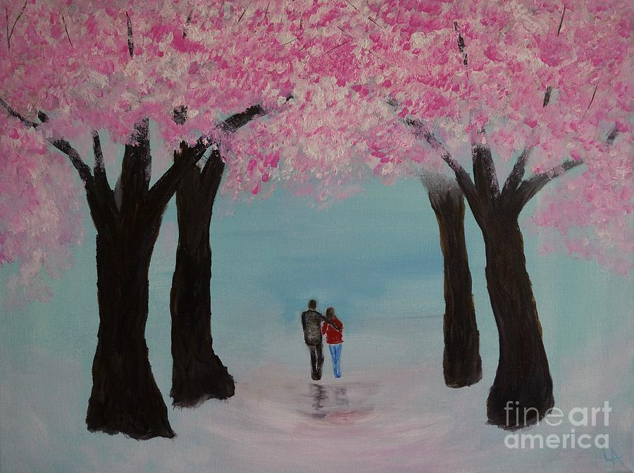 Couple Canvas Prints Painting - Blossoming Romance by Leslie Allen