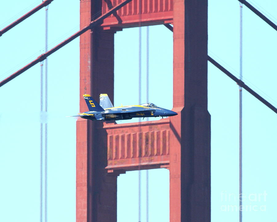Blue Angels Photograph - Blue Angels Crossing The Golden Gate Bridge 10 by Wingsdomain Art and Photography
