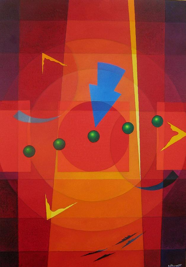 Abstract Painting - Blue Arrow by Alberto D-Assumpcao