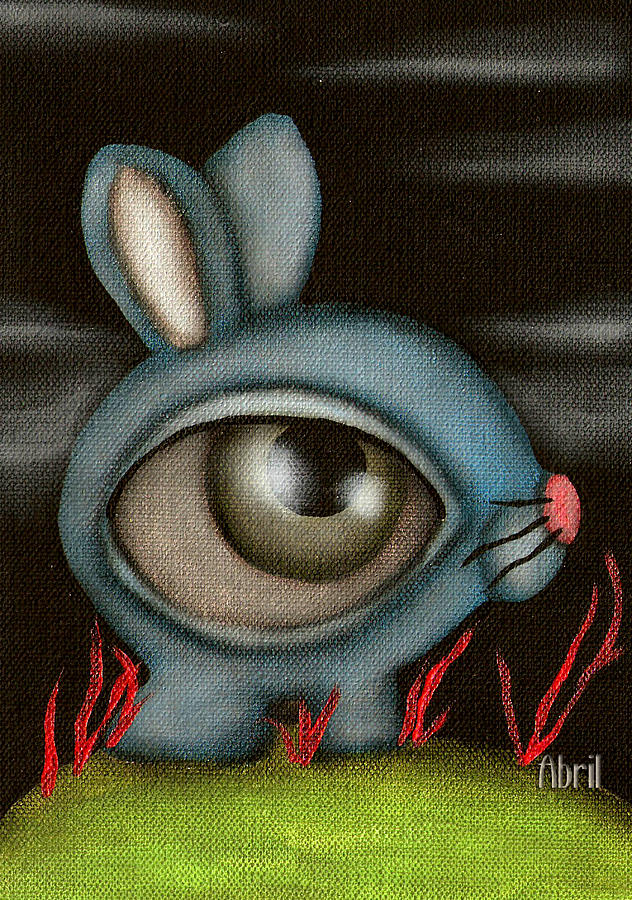 Bunny Painting - Blue Bunny by  Abril Andrade Griffith