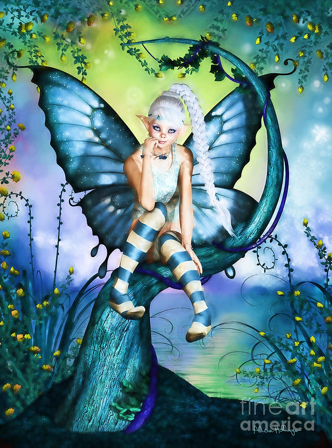 Blue Butterfly Fairy In A Tree Digital Art By Alicia Hollinger