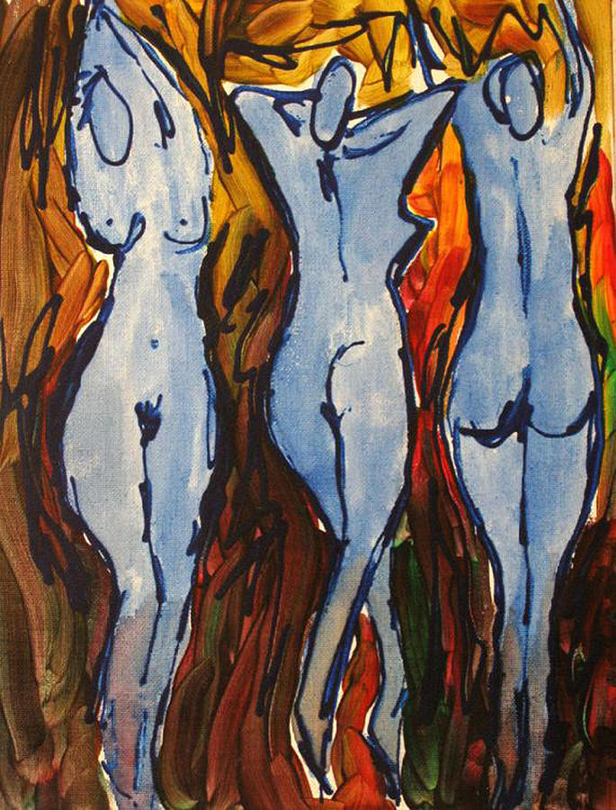 Nude Painting - Blue Dancers by Romina Diaz-Brarda