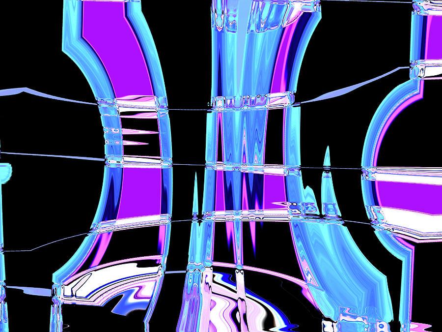 Blue Dark Curved Wave Digital Art