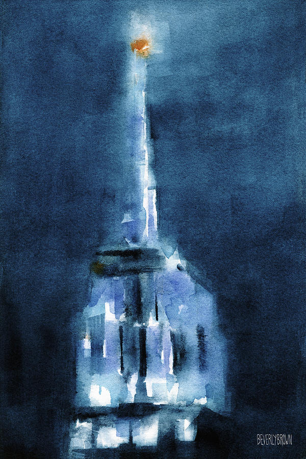 Blue Empire State Building Painting by Beverly Brown Prints