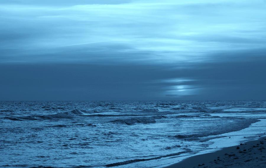 Surf Photograph - Blue Evening by Sandy Keeton