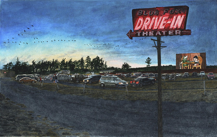 Drive-in Painting - Blue Fox by Perry Woodfin