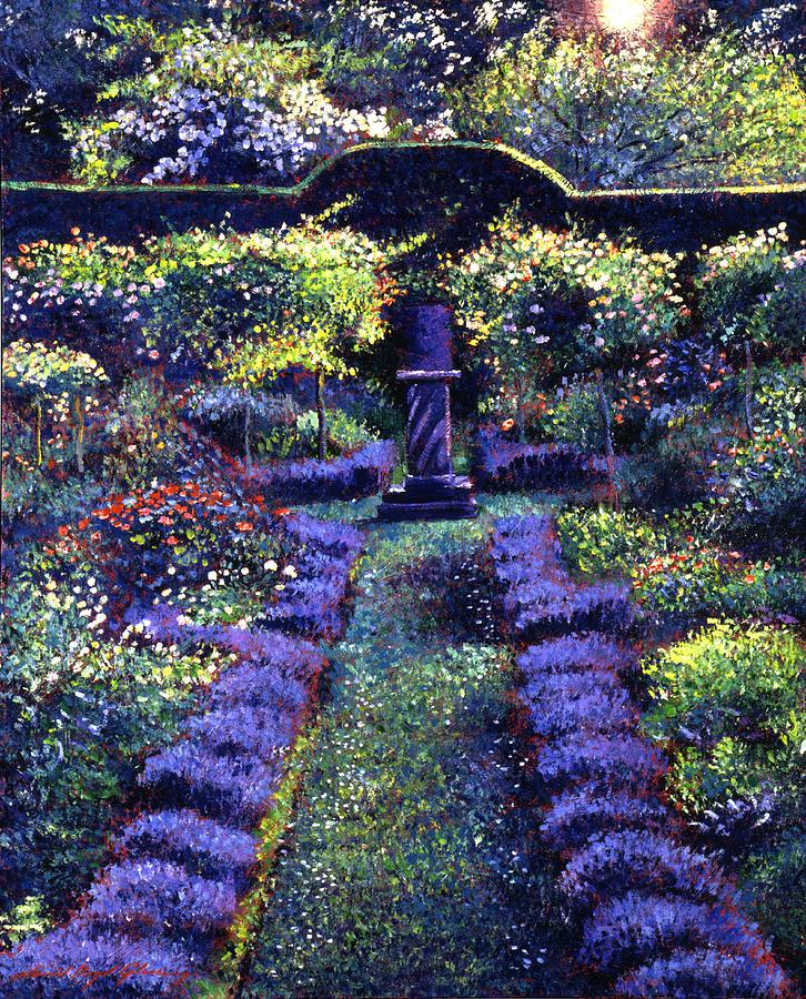 Blue Garden Sunset Painting