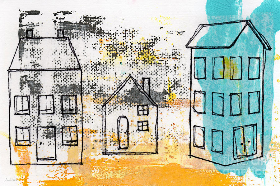 Abstract Painting - Blue House by Linda Woods