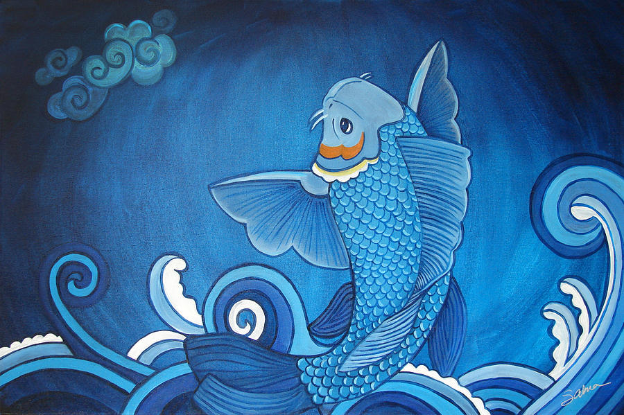 Blue koi painting by sabina espinet for Blue koi fish for sale