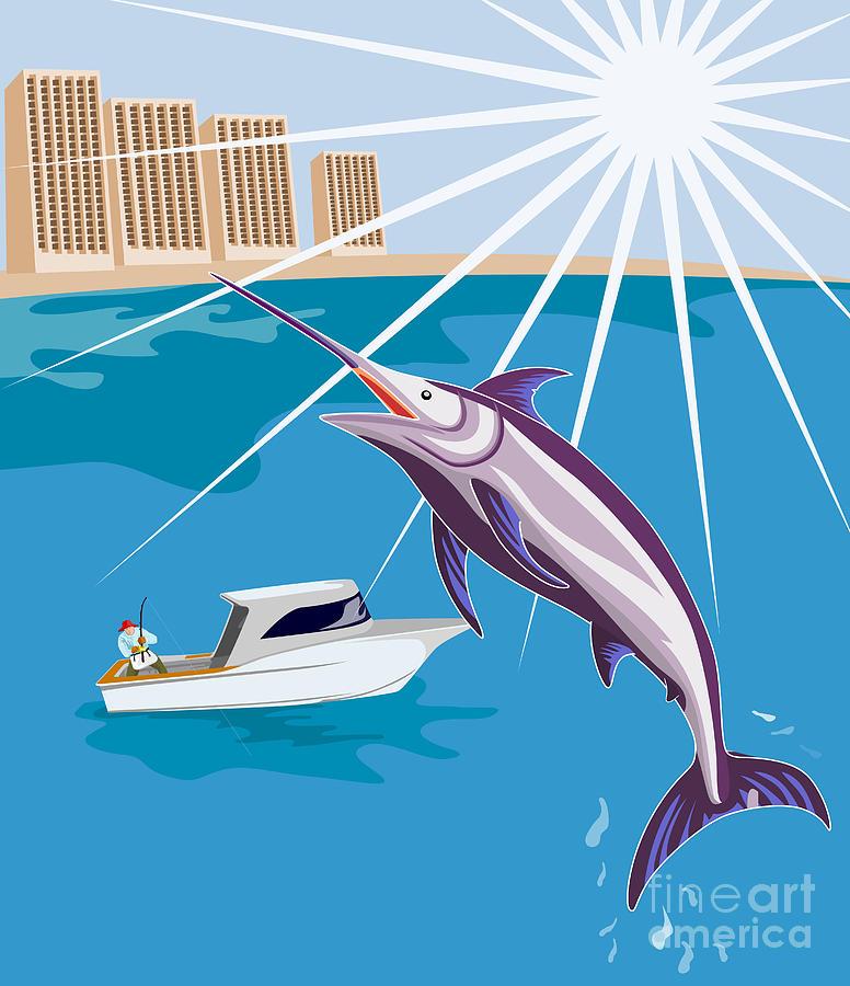 Blue Marlin Jumping Digital Art