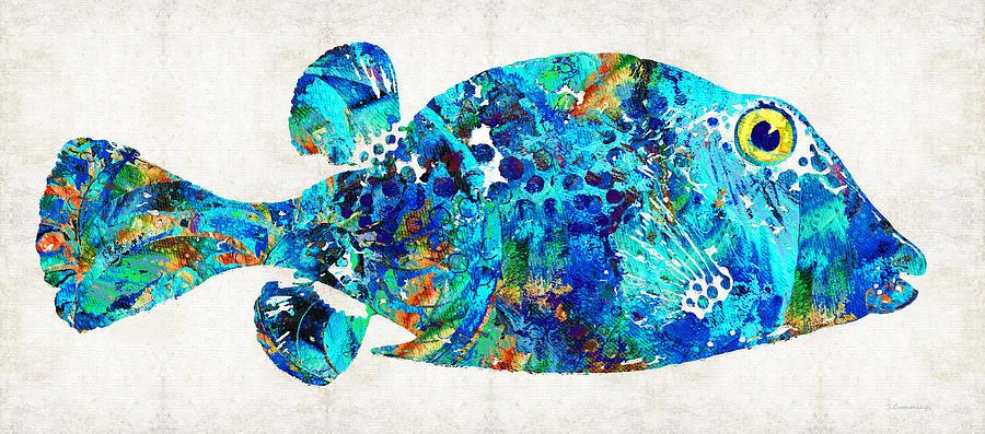 Blue puffer fish art by sharon cummings painting by sharon for Puffer fish art