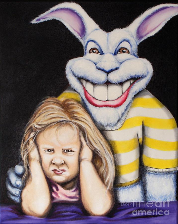 Children Painting - Blue Rabbit by Matthew Lake