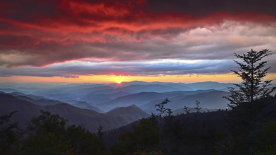 Blue Ridge Parkway Nc Waterrock Red Skies Sunset