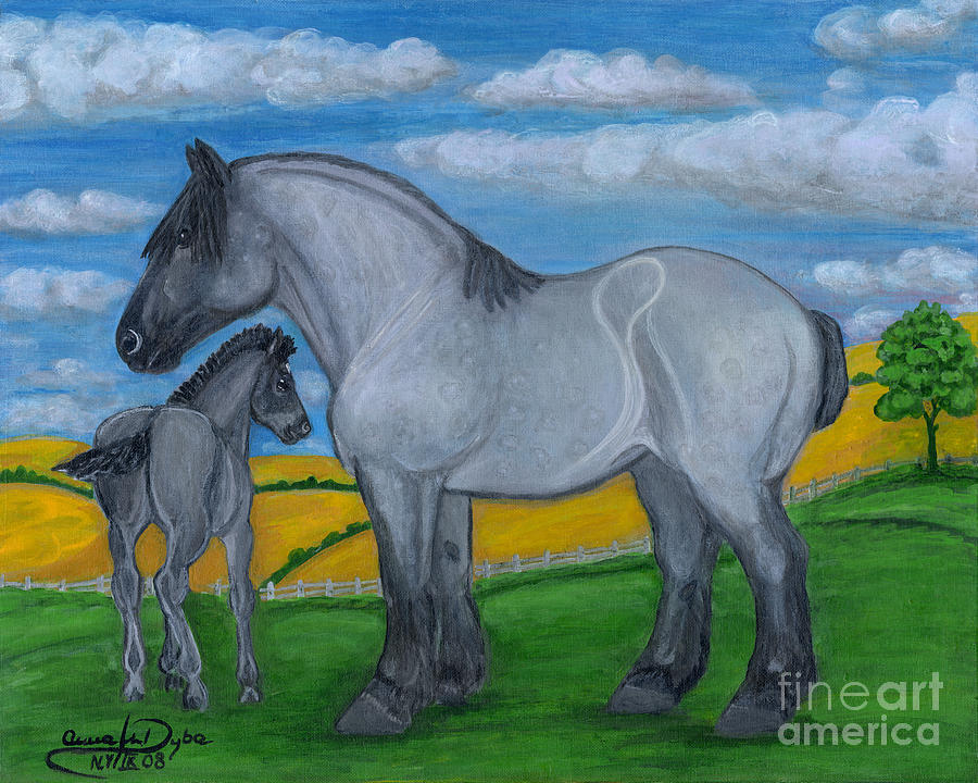 Blue Roan Mare With Her Colt Painting