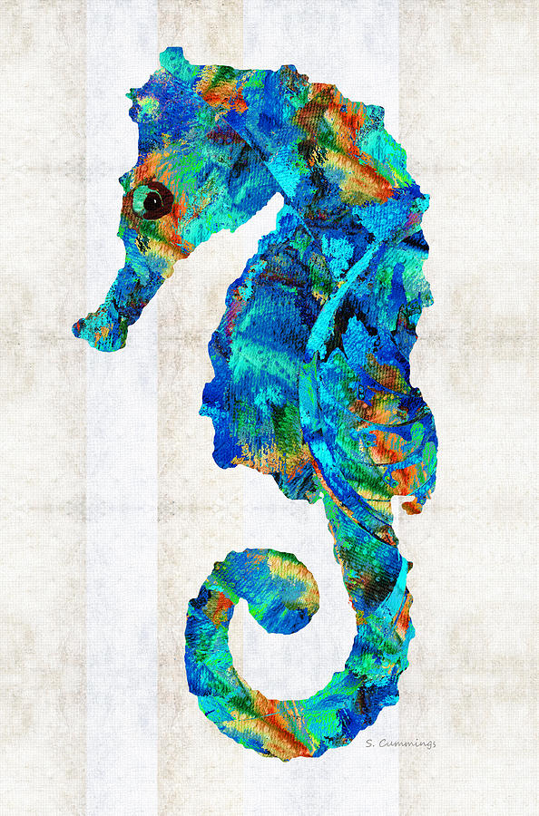 Blue Seahorse Art By Sharon Cummings Painting By Sharon