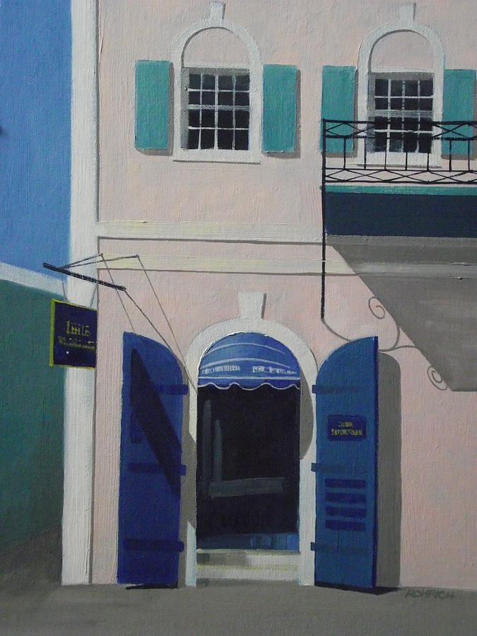 Blue Shutters In Charlotte Amalie Painting